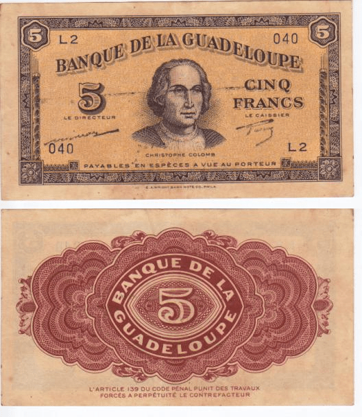 Guadeloupe 5 Francs Banknote, 1942, P-21a