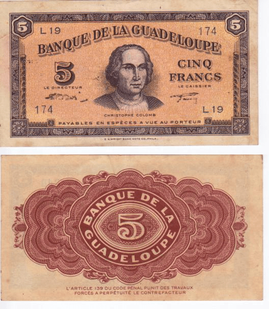 Guadeloupe 5 Francs Banknote, 1942, P-21b
