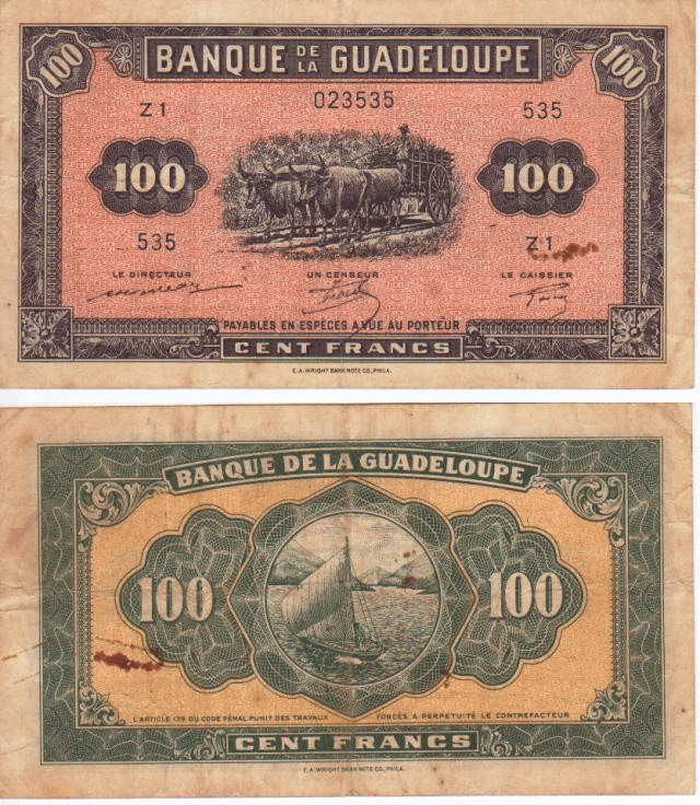 Guadeloupe 100 Francs Banknote, 1942, P-23a