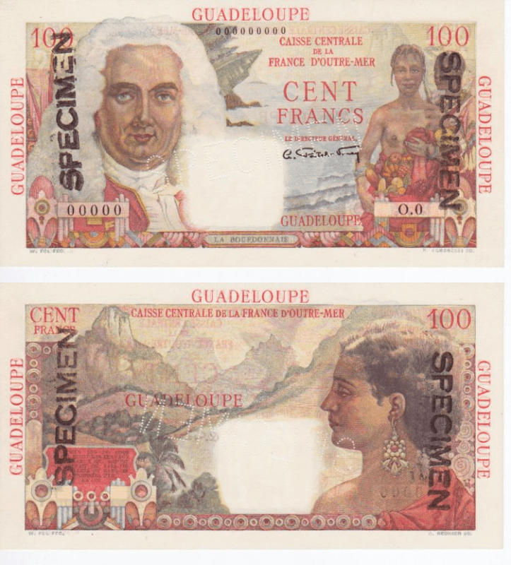 Guadeloupe 100 Francs Banknote, 1947, P-35s