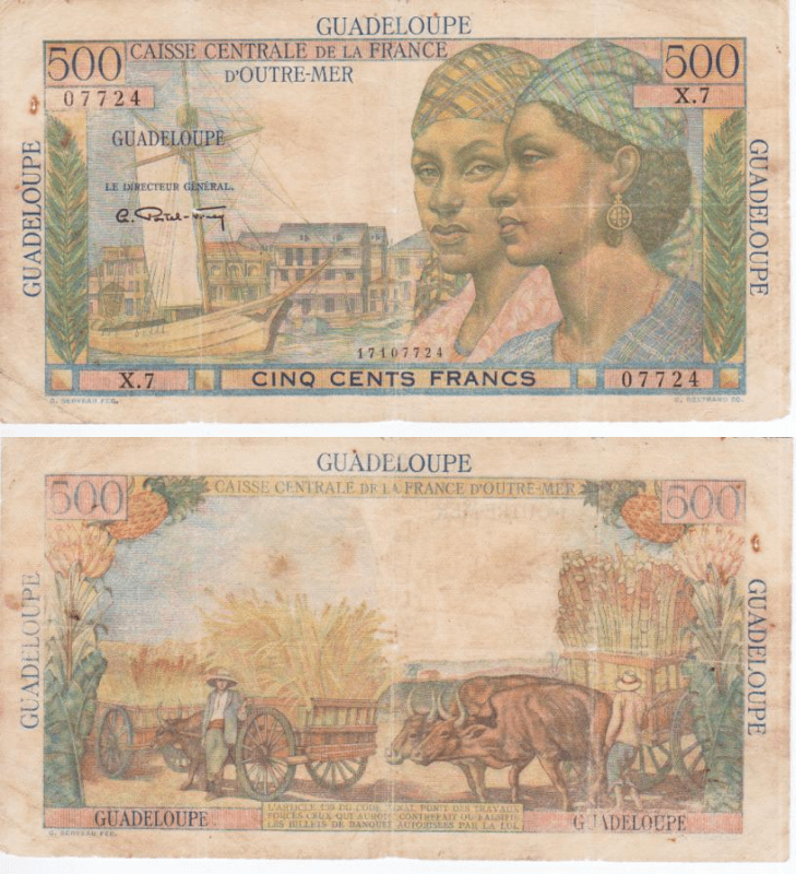 Guadeloupe 500 Francs Banknote, 1947, P-36