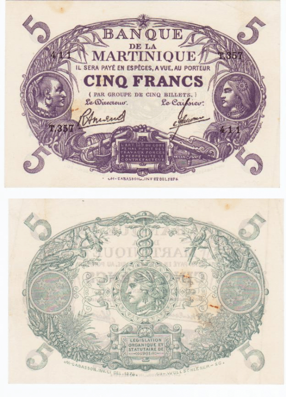 5 Francs Martinique's Banknote