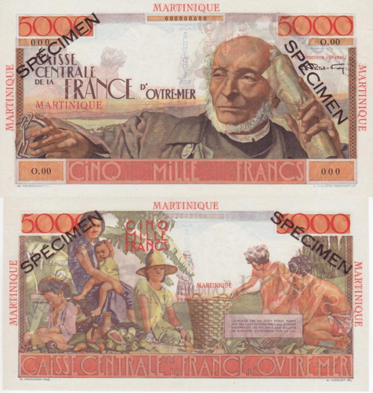 5,000 (5000) Francs Martinique's Banknote