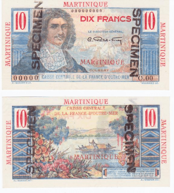 Martinique 10 Francs Banknote, 1947, P-28s