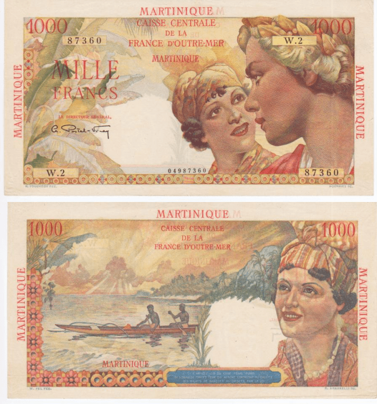 Martinique 1,000 Francs Banknote, 1947, P-33