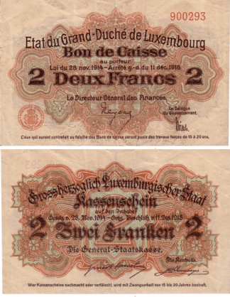 Luxembourg 2 Francs Banknote, 1919, P-28