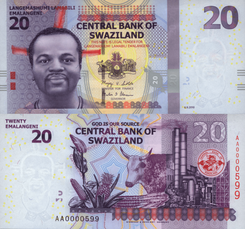 20 Emalangeni Swaziland's Banknote