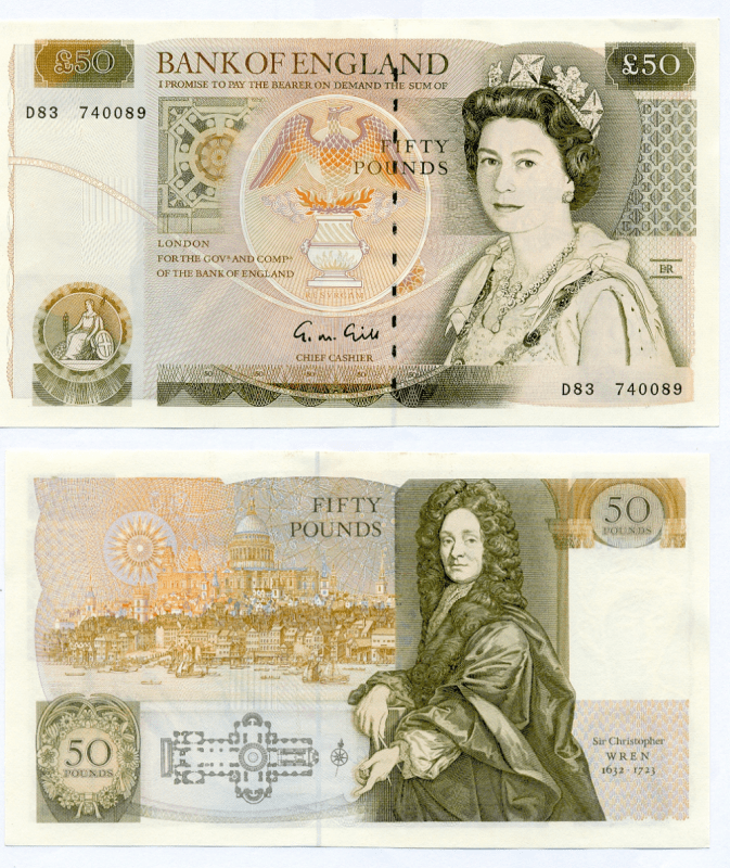 Great Britain/England 50 Pounds Banknote, 1988, P-381b
