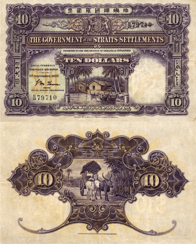 Straits Settlements 10 Dollars Banknote, 1927, P-11a