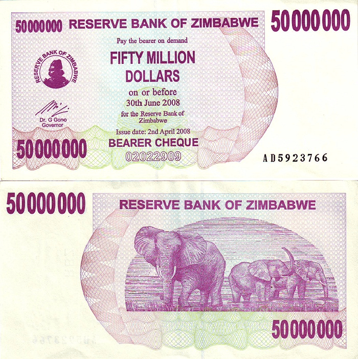 50 Million Dollars Zimbabwe's Banknote