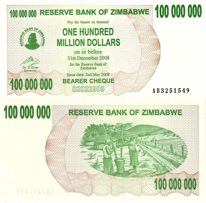 Zimbabwe 100 Million Dollars Banknote, 2008, P-58