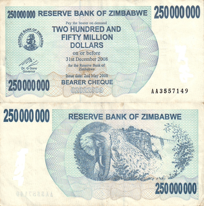 Zimbabwe 250 Million Dollars Banknote, 2008, P-59a