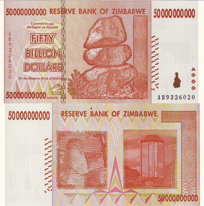 Zimbabwe 50 Billion Dollars Banknote, 2008, P-87a