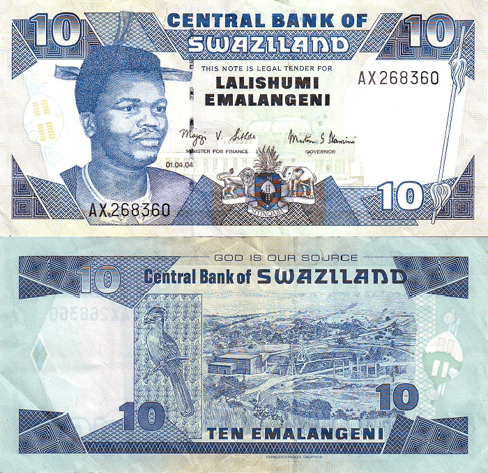 10 Emalangeni Swaziland's Banknote