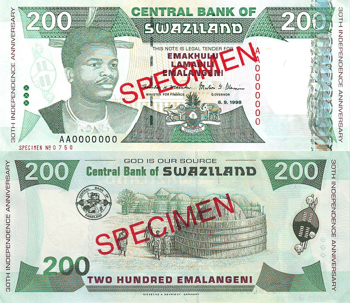 Swaziland 200 Emalangeni Banknote, 1998, P-28s
