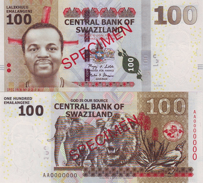 Swaziland 100 Emalangeni Banknote, 2010, P-39s