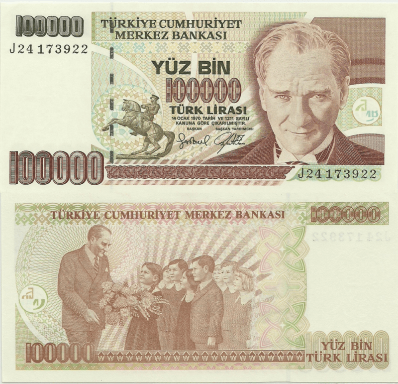 100,000 Lira Turkey's Banknote