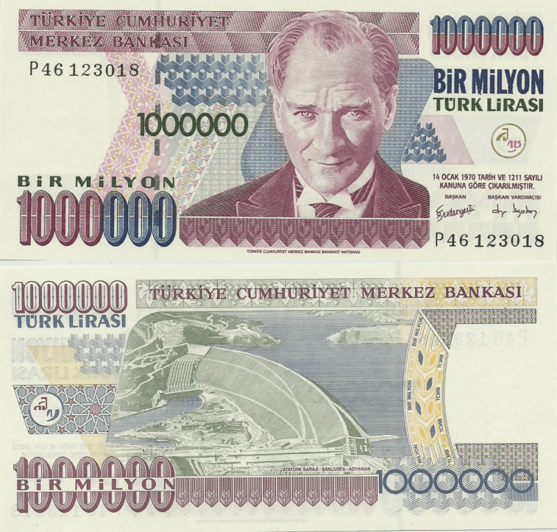 1000,000 Lira Turkey's Banknote