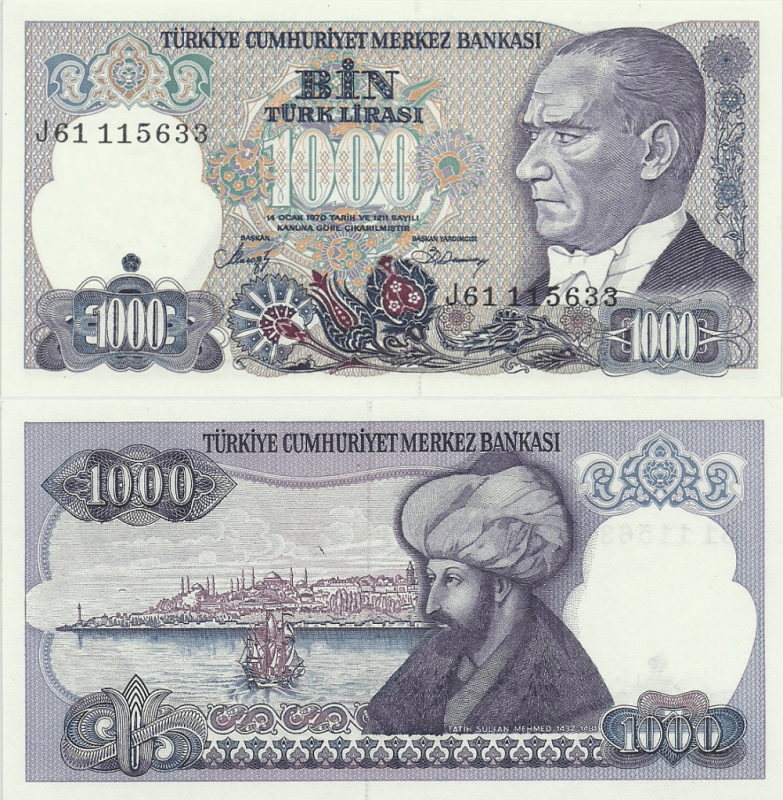 1,000 Lira Turkey's Banknote