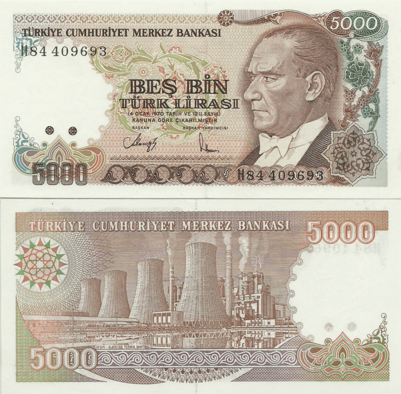 5,000 Lira Turkey's Banknote