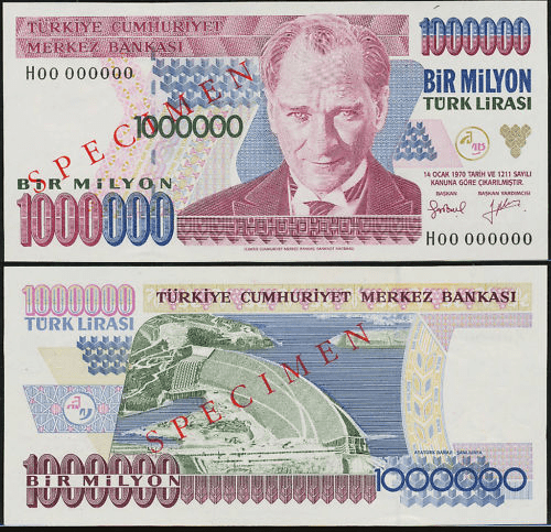 Turkey 1 Million Lira Banknote, 1995, P-209s
