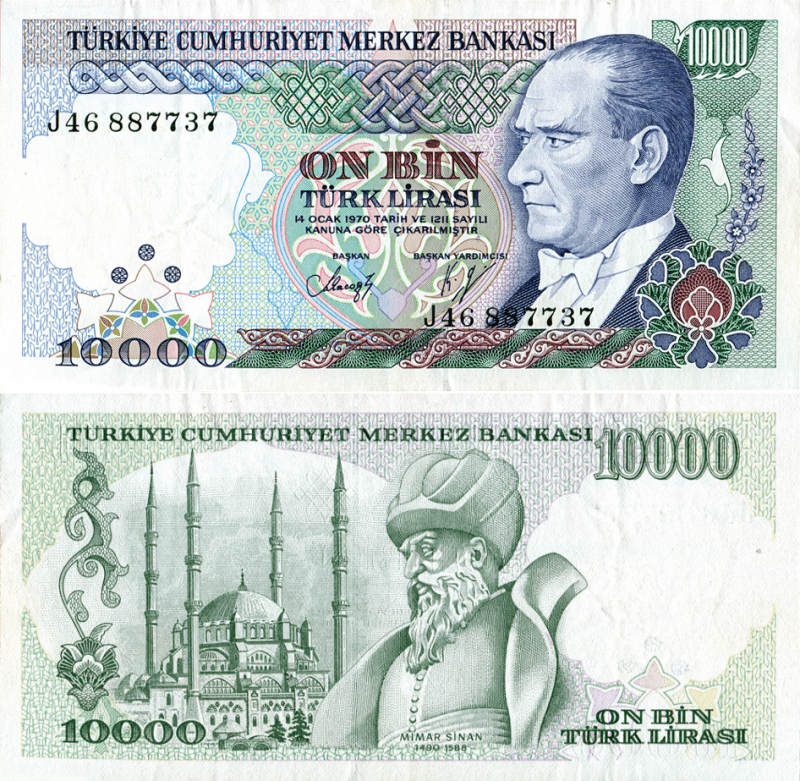 10,000 Lira Turkey's Banknote