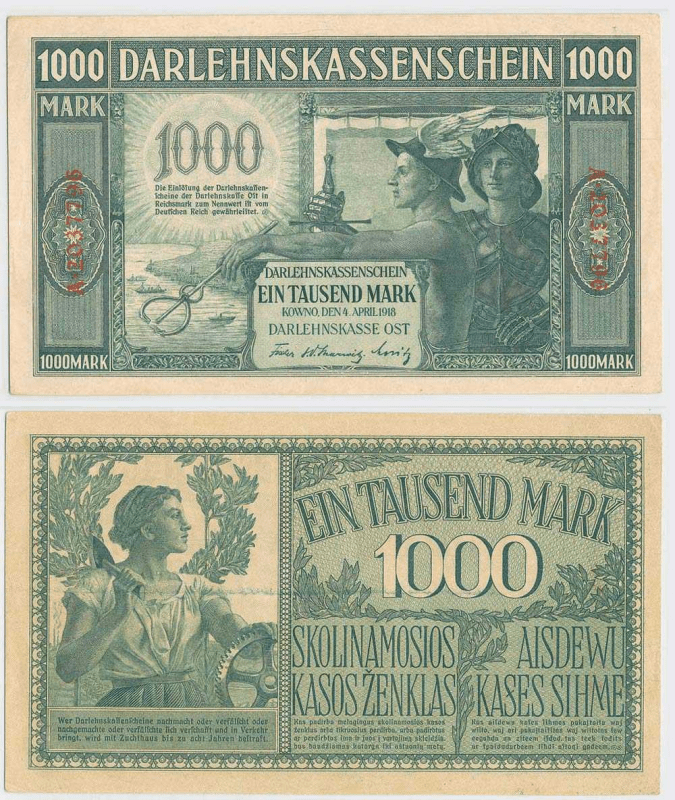1,000 Mark Lithuania's Banknote