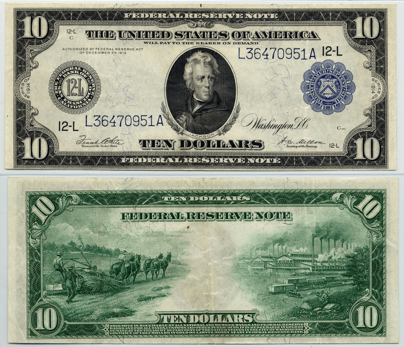 United States 10 Dollars Banknote, 1914, P-360bL