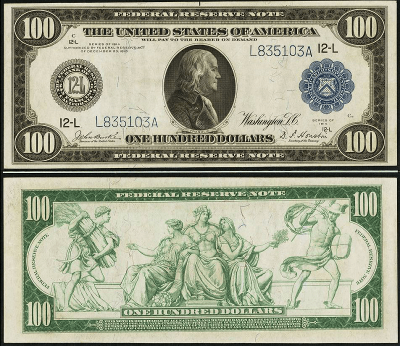 United States 100 Dollars Banknote, 1914, P-363b