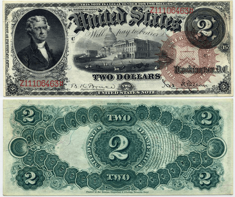 United States 2 Dollars Banknote, 1874, P-154