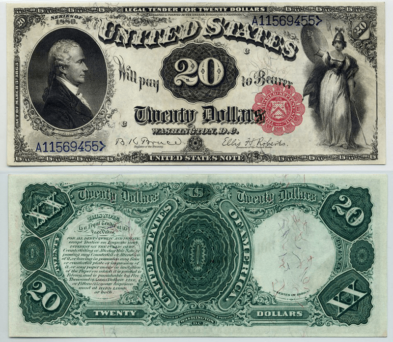 United States 20 Dollars Banknote, 1880, P-169