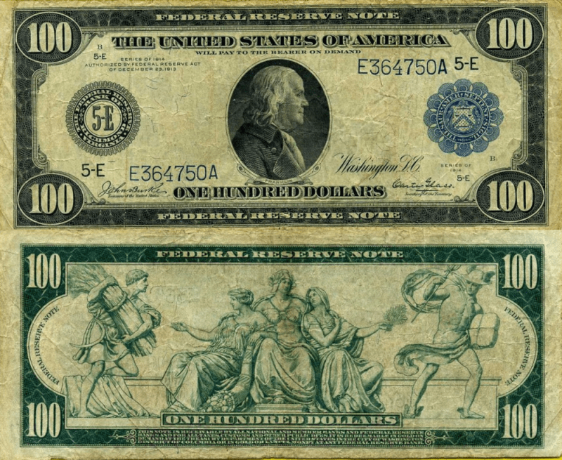 United States 100 Dollars Banknote, 1914, P-363