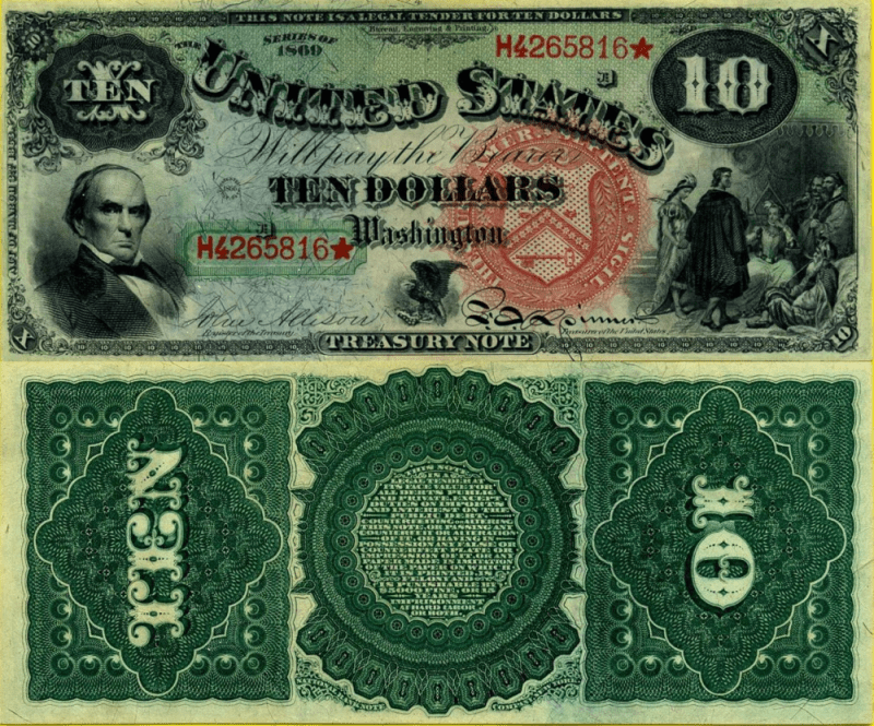 United States 10 Dollars Banknote, 1869, P-147