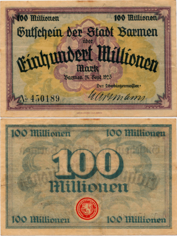 Germany/Notgeld 100 Millionen Banknote, 1923, P-UNLISTED