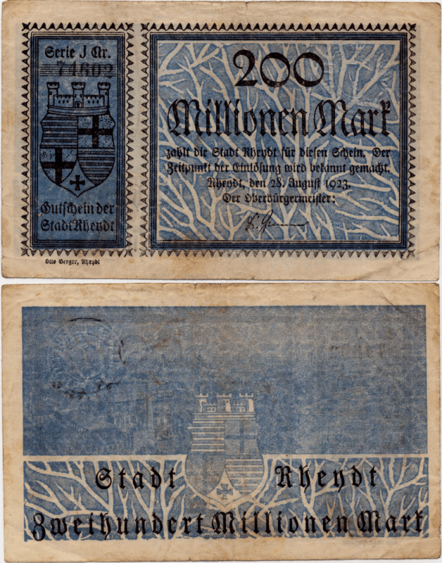 Germany/Notgeld 200 Millionen Banknote, 1923, P-UNLISTED
