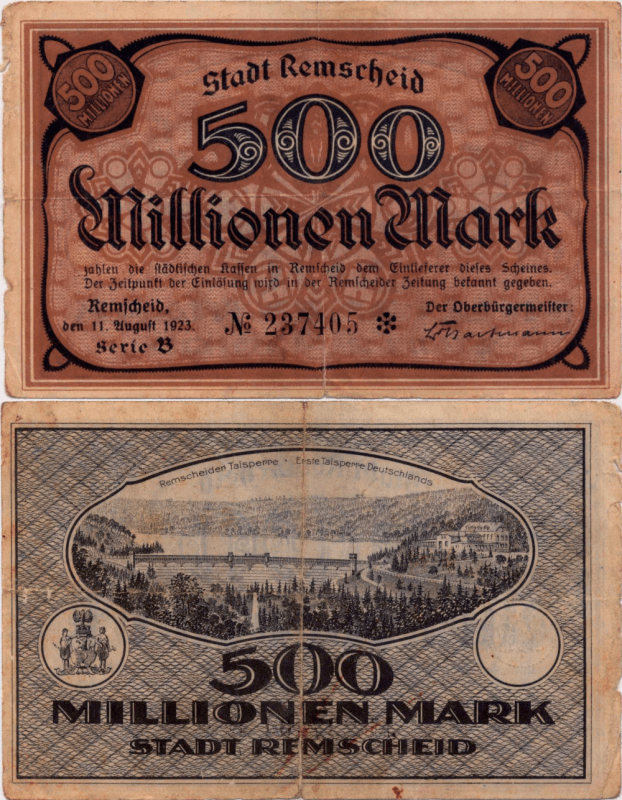 Germany/Notgeld 500 Millionen Banknote, 1923, P-UNLISTED
