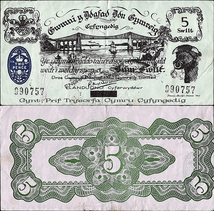 Wales 5 Shillings Banknote, 1969, P-UNLISTED