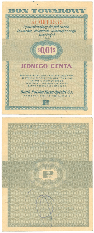 Poland 1 Cent Banknote, 1960, P-FX1