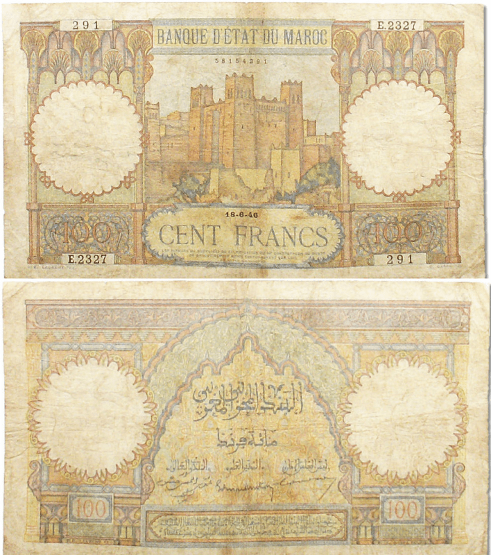 Morocco 100 Francs Banknote, 1946, P-20