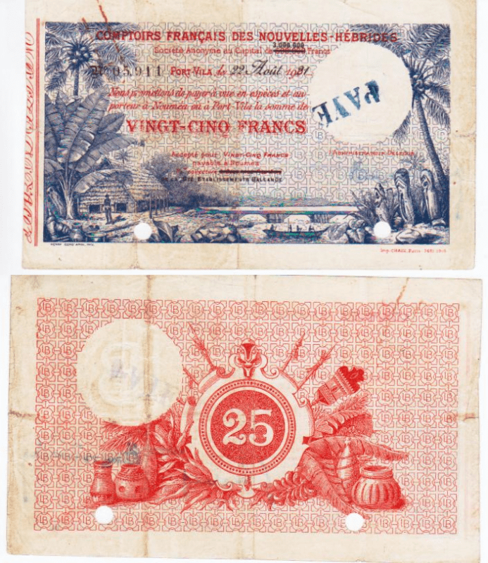 New Hebrides 25 Francs Banknote, 1921, P-A1