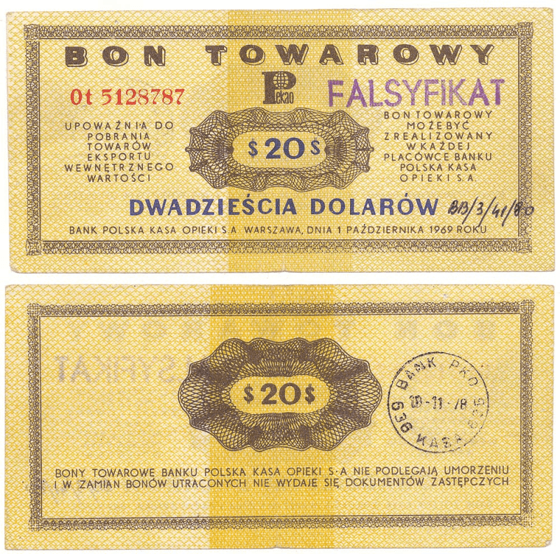 Poland 20 Dollars Banknote, 1969, P-FX31