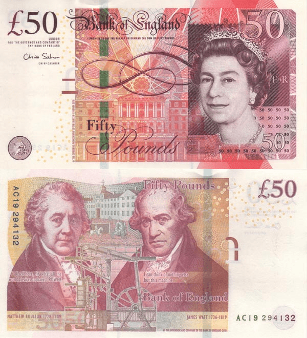 Great Britain/England 50 Pounds Banknote, 2010, P-393