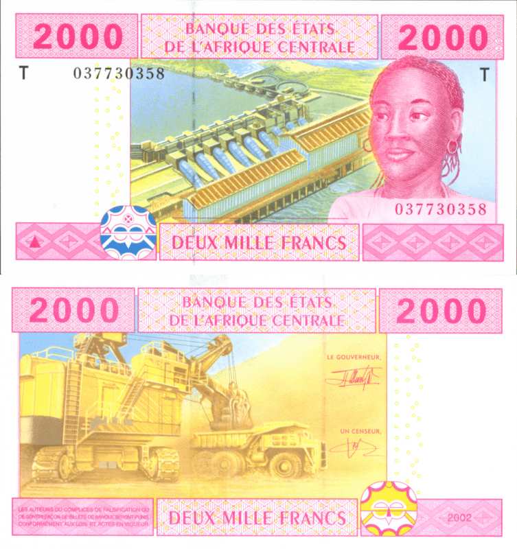 Central African States 2,000 Francs Banknote, 2003, P-108T