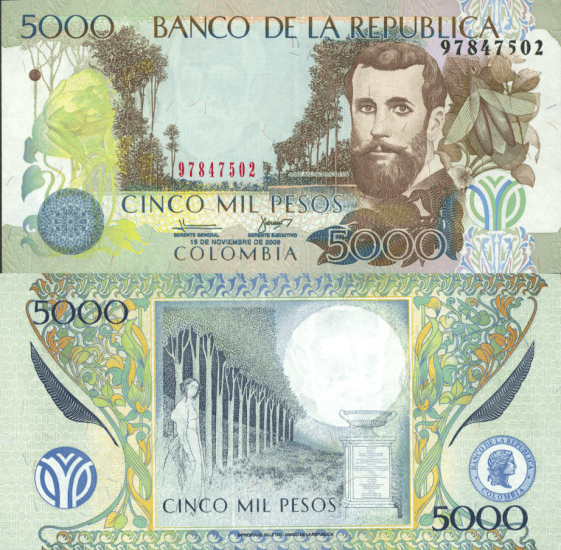 Colombia 5,000 Pesos Banknote, 2006, P-452h