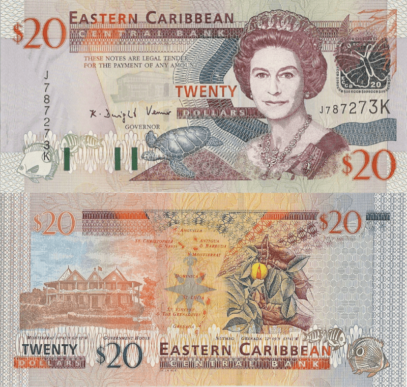 St. Kitts & Nevis 20 Dollars Banknote, 1998, P-38H