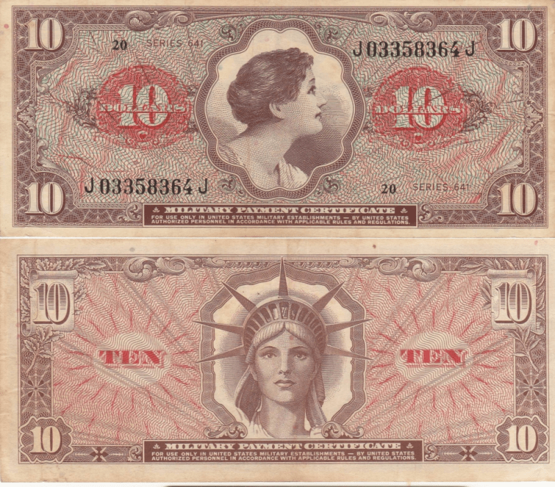 United States 10 Dollars Banknote, 1965, P-M63