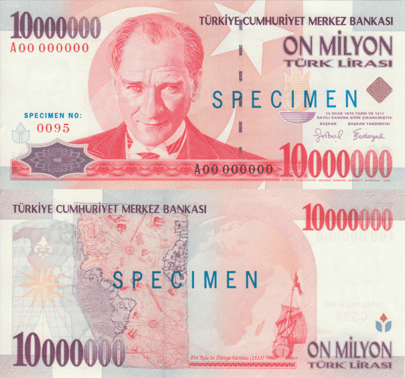 Turkey 10 Million Lira Banknote, 1999, P-214