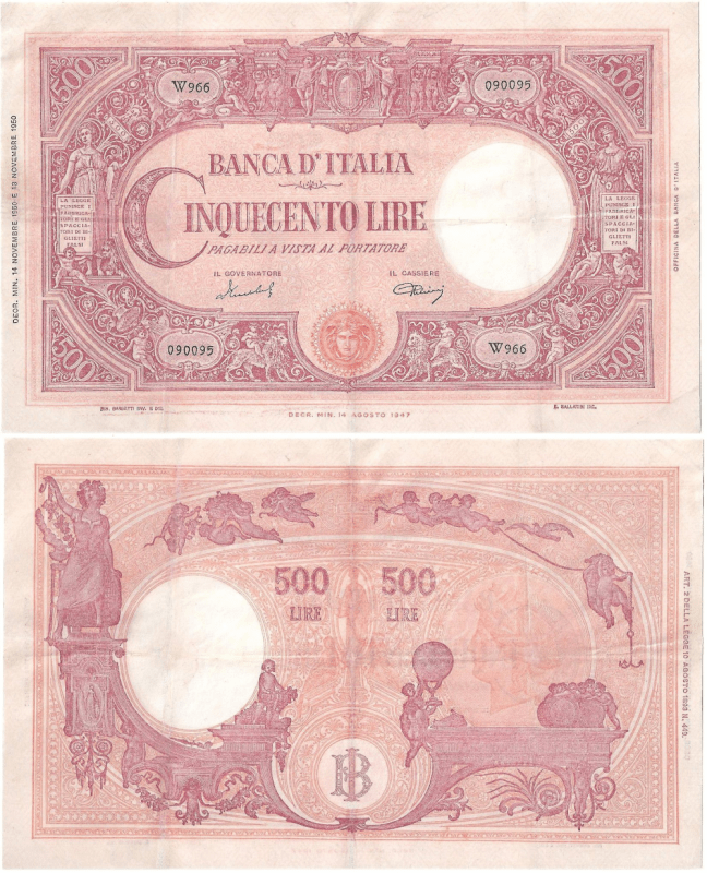 Italy 500 Lire Banknote, 1950, P-71