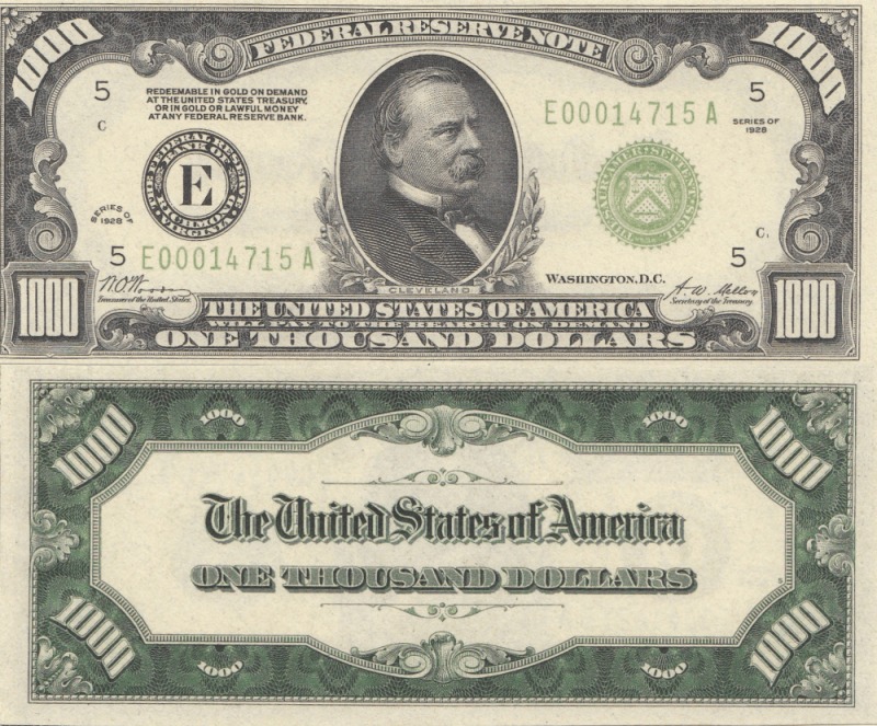United States 1,000 Dollars Banknote, 1928, P-P-426