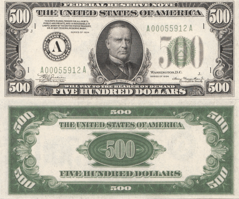 United States 500 Dollars Banknote, 1934, P-434a
